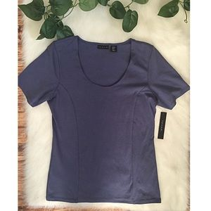 Tahari Scoop Neck Short Sleeve Fitted Shirt NWT